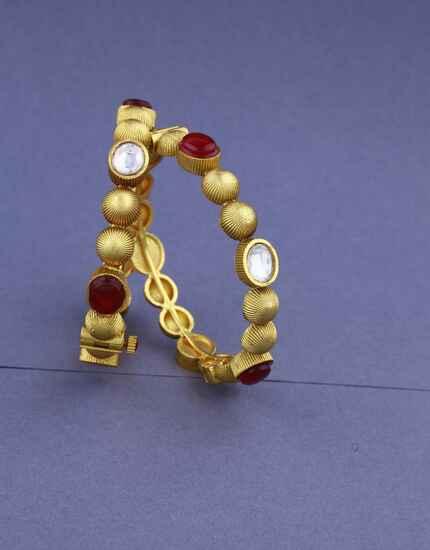 Golden Finish Designer Stylish Kada Bangles Set For Women