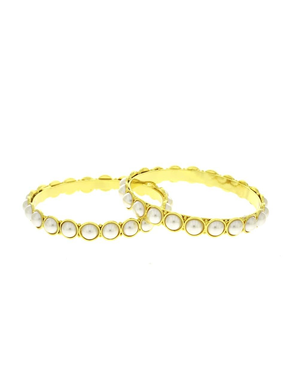 Gold Tone Adorable Styled With Beads Trendy Bangles Set For Women