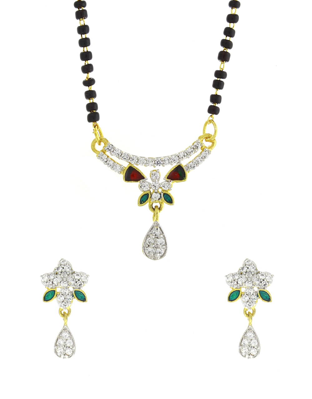 Multi Colour Studded Stone Party Wear Mangalsutra Set