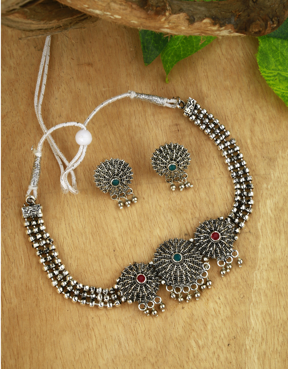 Red-Green Colour Fancy Navaratri Jewellery Necklace Set