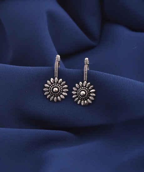 Anuradha Art Oxidized Finish Designer Silver Bugadi