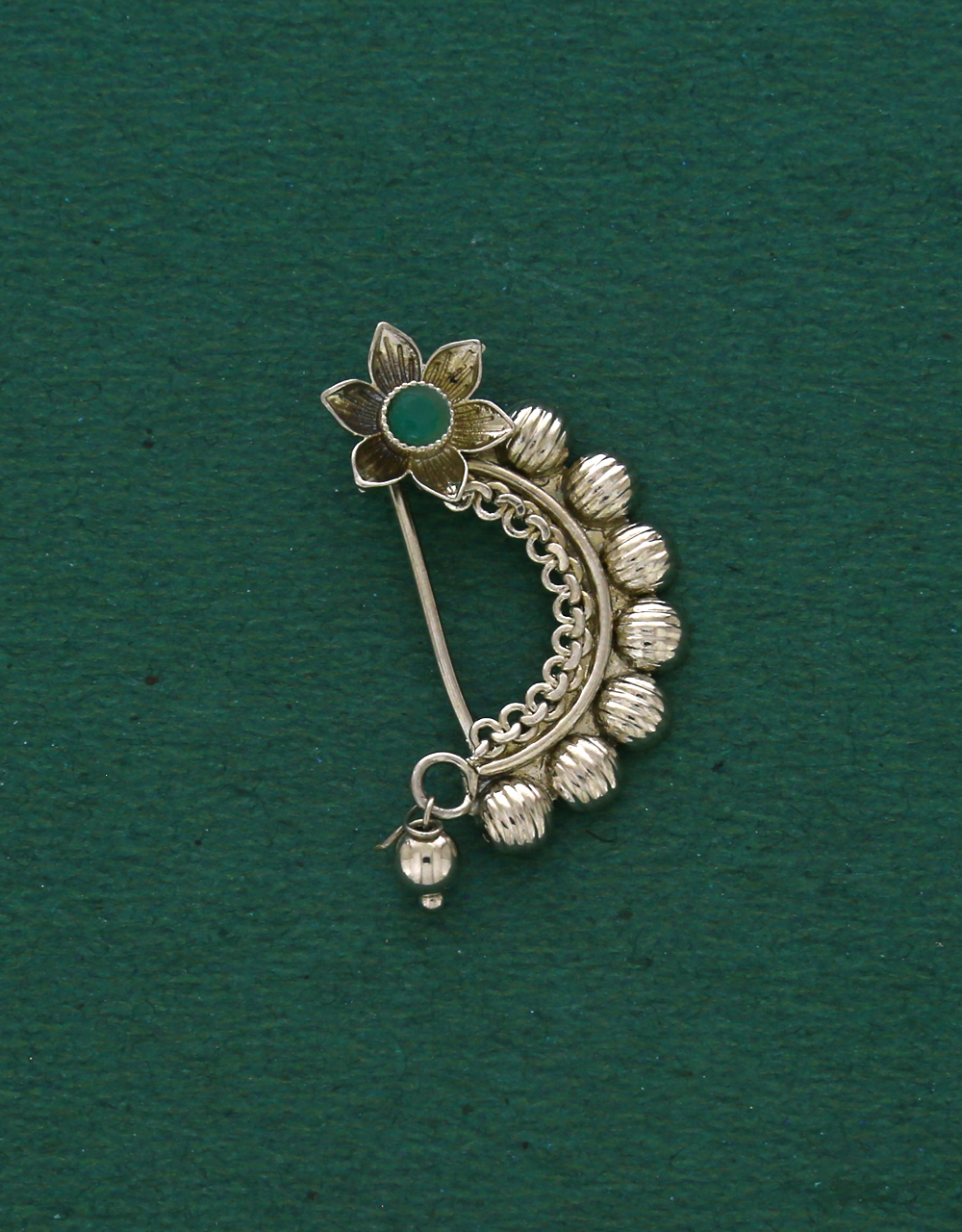 Green Colour Silver Oxidized Tone Adorable Press On Nath For Women & Girls {Clip on Nath}