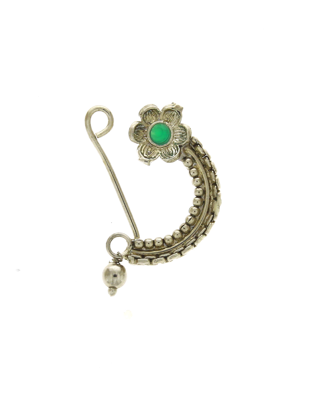 Green Colour Flower Styled Oxidized Nath | Silver Press On Nose Ring For Women & Girls {Press on Nath}