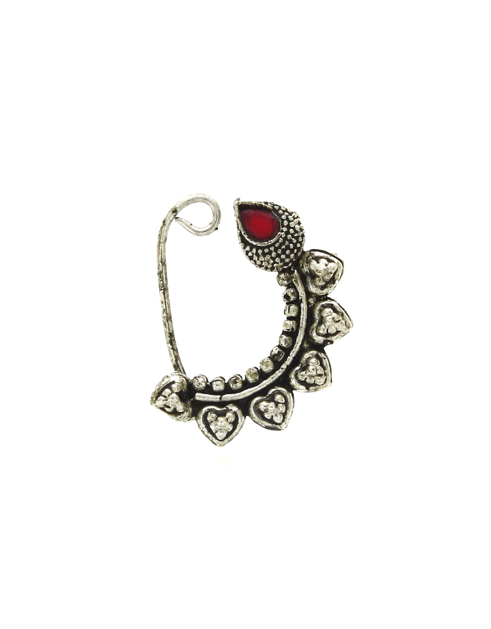 Jewellery Silver Oxidized Finish Adorable Clip On Nath For Women {Press On}