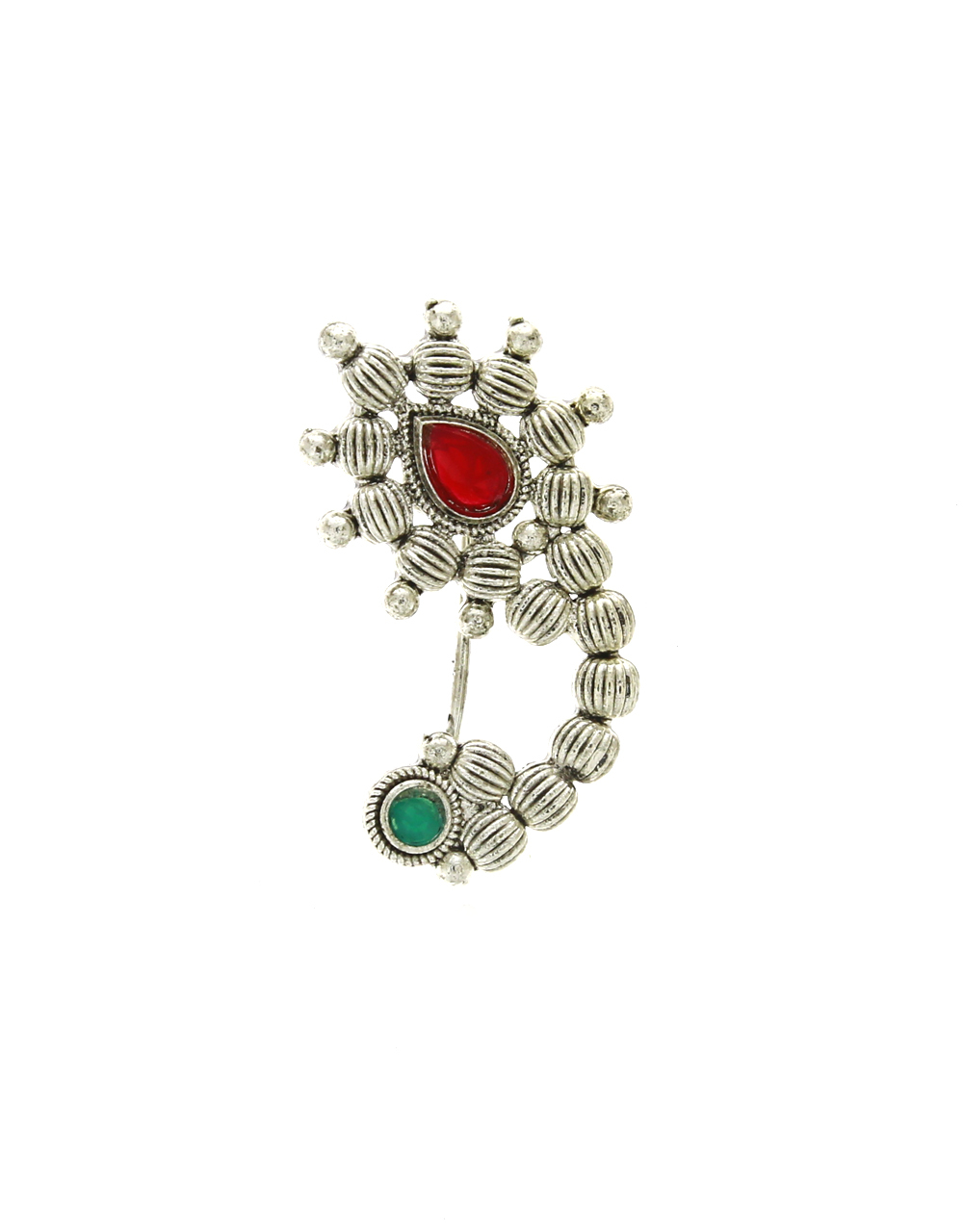 Silver-Red Colour Designer Traditional Maharashtrian Nath, Nose Pin, Clip On Nath For Women [press on nath]