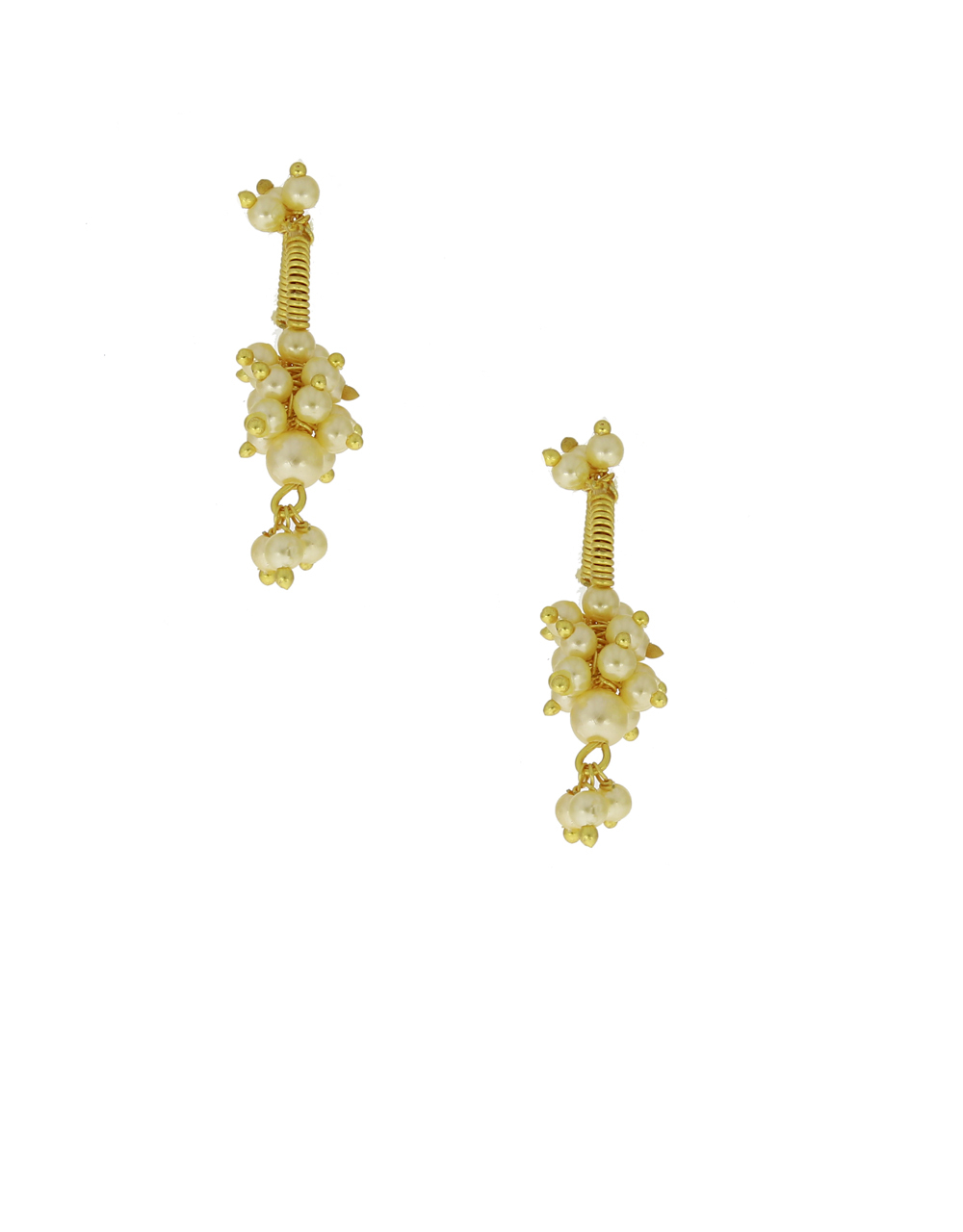 Gold Finish Pearls Beads Bugadi Earrings For Traditional Look {Clip-On Bugadi}