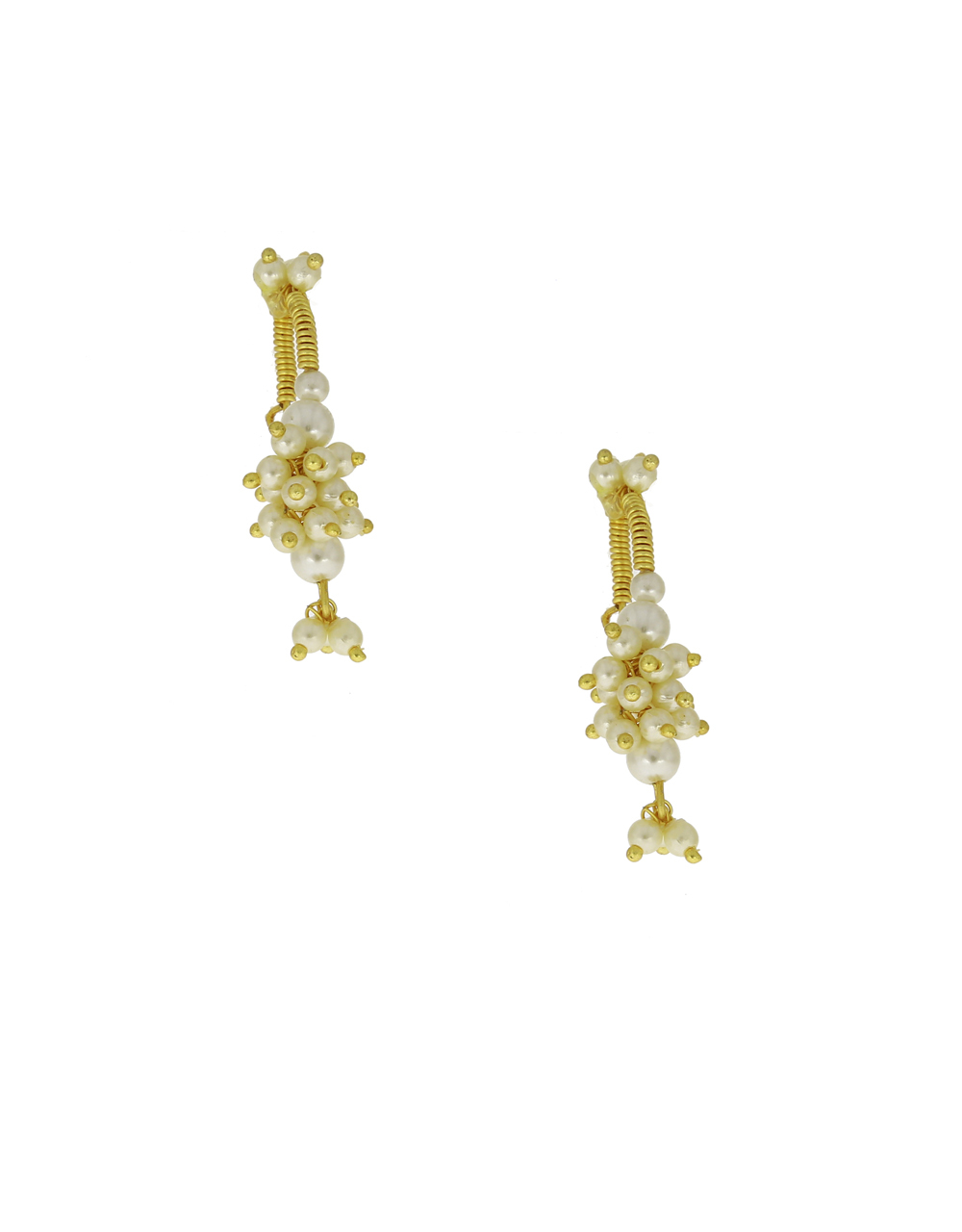 Off-White Colour Pearls Beads Bugadi Earrings For Traditional Look {Clip-On Bugadi}