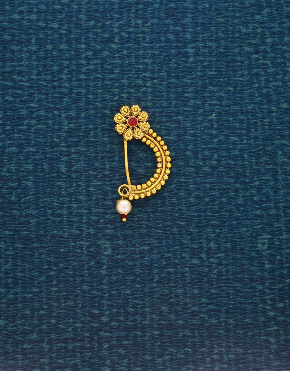 Gold Finish Flower Styled Traditional Nath |Clip On Nath | Pressing Nath For Women & Girls[Press Nath]