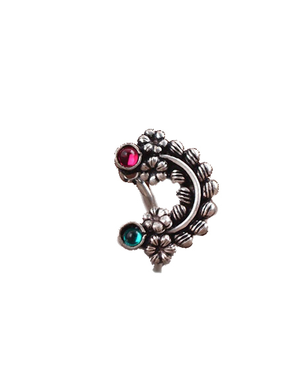Oxidised Silver Nath, Traditional Maharashtrian Nath, Nose Pin, Clip-On For Women {Clip-On Nath}