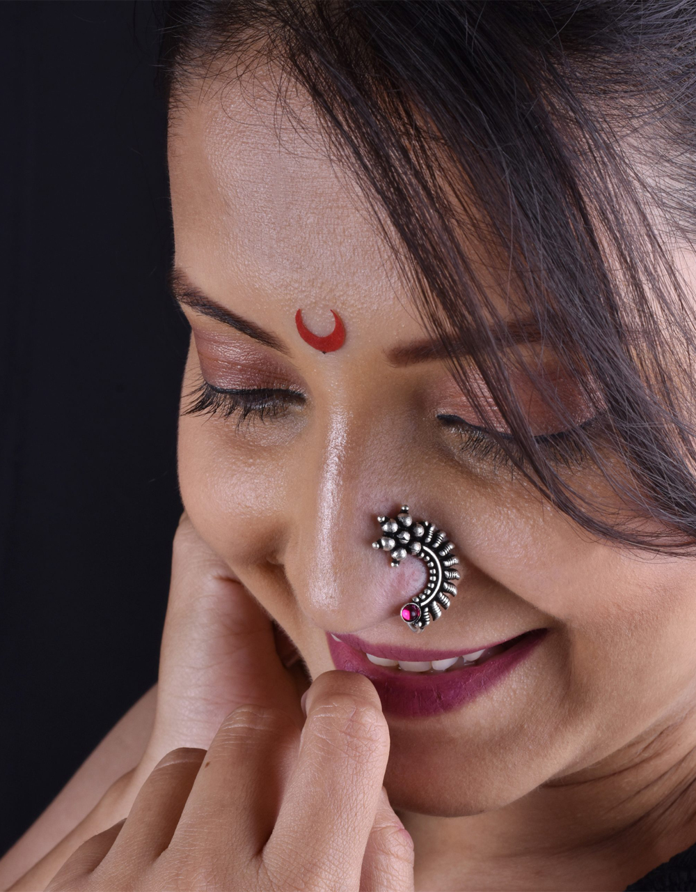 Oxidized Tone Designer Press On Nath, Traditional Nath, Nose Pin For Women & Girls {Clip-On Nath}