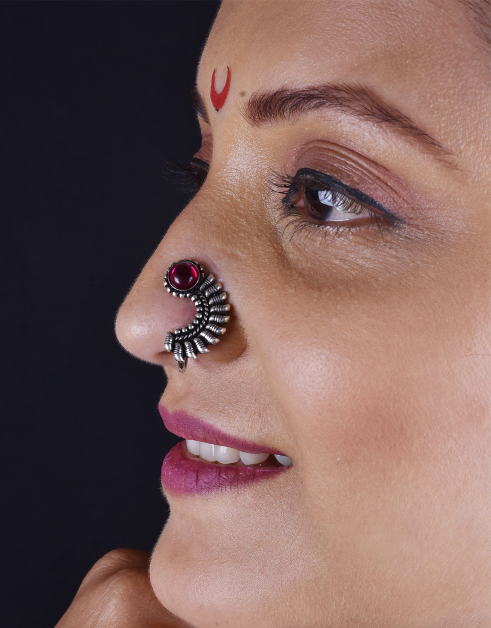 Pink Colour Adorable Oxidized Silver Nath | Pressing Nath, Clip-On Nath For Women & Girls