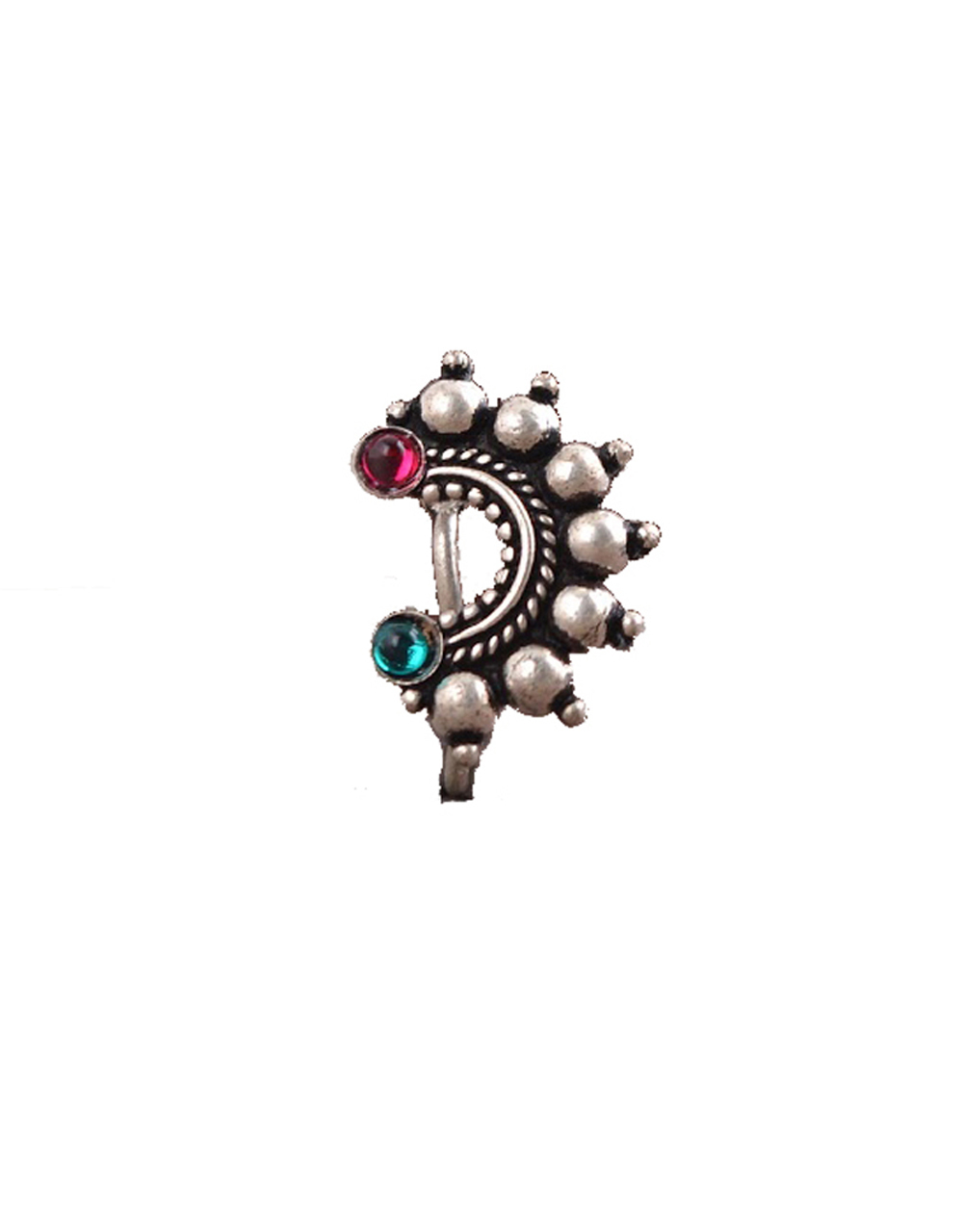Oxidized Silver Finish Adorable Clip On Nath   Traditional Nath For Women & Girls