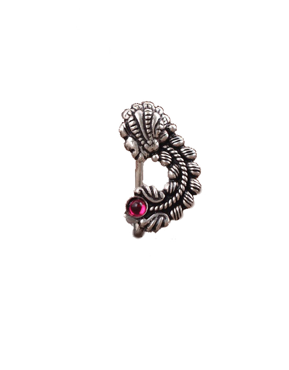 Silver Finish Something New & Classy Oxidized Nath   Press On Nath   Clip-On Nath For Women
