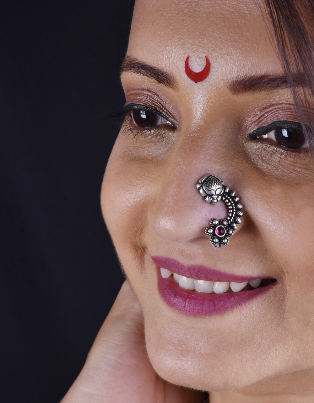 Oxidized Nath | Pressing Nath For Navaratri Look |Traditional Nath For Women & Girls {Clip-On Nath}