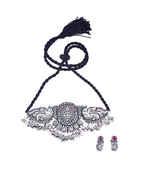 Anuradha Art Silver Oxidized Finish Choker Necklace