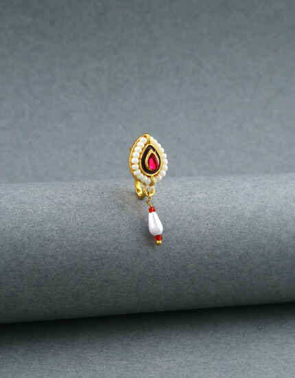 Ruby Studded Clip On Traditional Nose Ring for Women