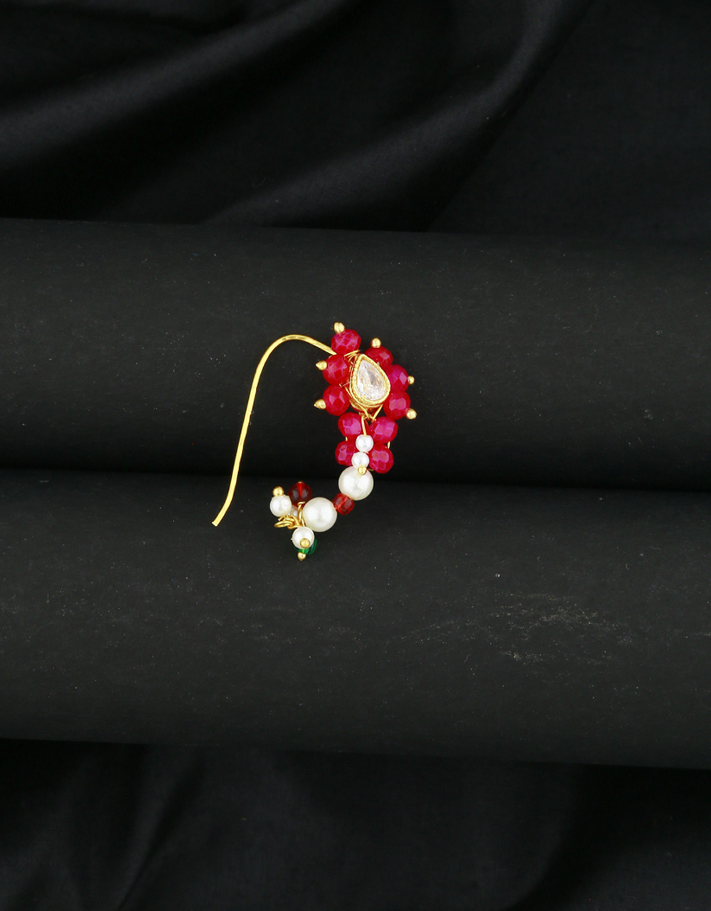 Anuradha Art Pink Colour Beads Styled Traditional Nath
