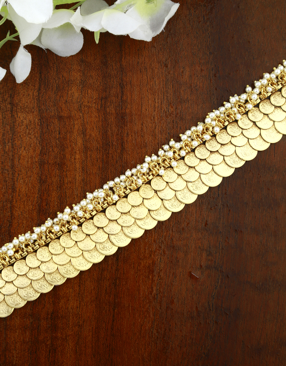 Anuradha Art Gold Finish Styled With Coin Marathi Jewellery