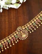 Anuradha Art Gold Finish Kamarband Studdend Ruby Stone
