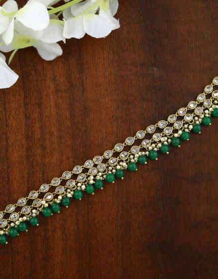 Anuradha Art Antique Gold Finish Sutdded Fancy Belly Chain