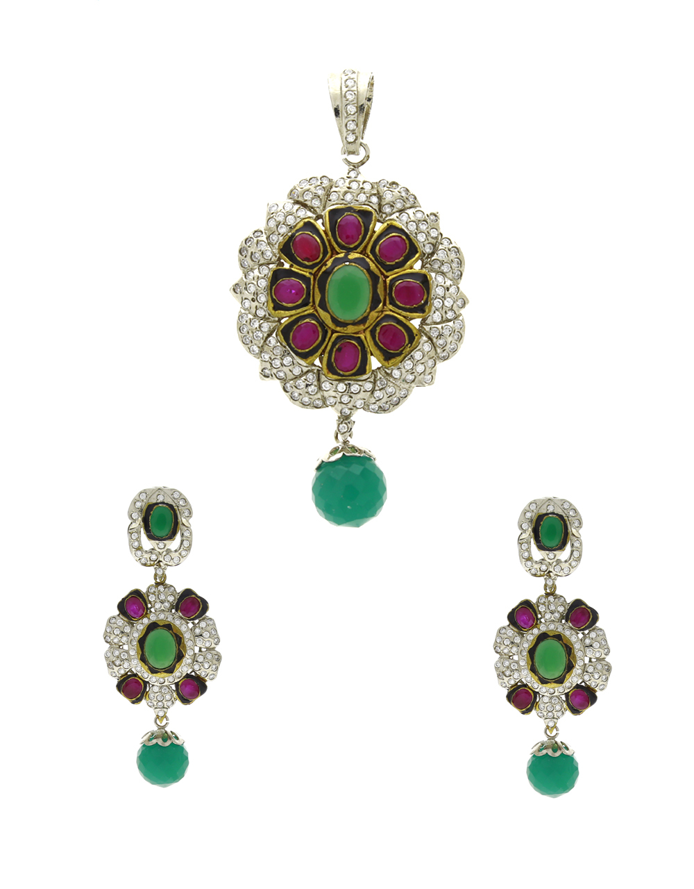 Green-Pink Colour Adorable Fancy Traditional Pendant Set For Women