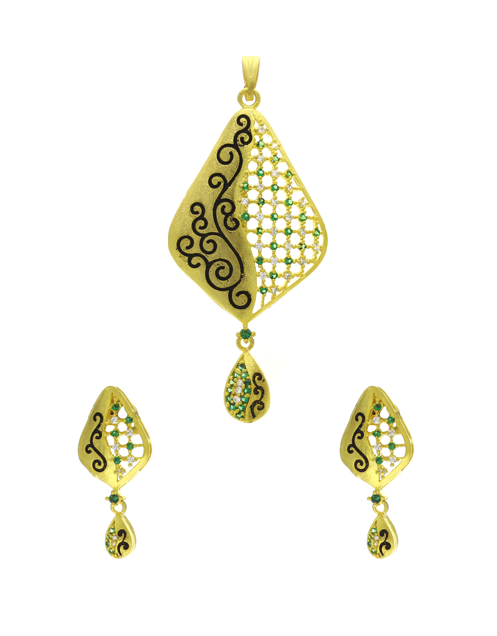 Gold Finish Studded Green Stone Traditional Pendant Set For Women