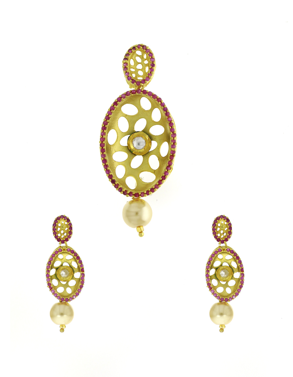 Gold Finish Studded Pink Stone Traditional Pendant Set For Women