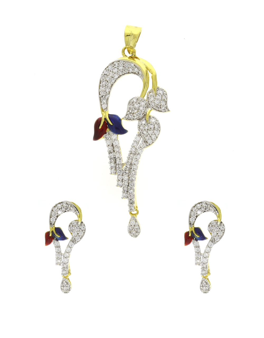 Gold Finish Adorable Styled With Mina Work Traditional Pendant Set For Women