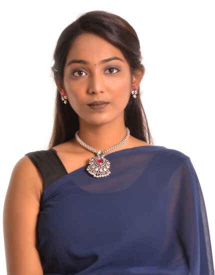 Anuradha Art Oxidized Finish Thushi Necklace Set