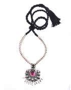 Anuradha Art Pink Colour Designer Oxidized Finish Thushi Necklace Set