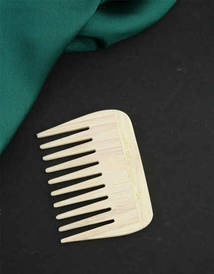 Anuradha Art Off-White Wooden Comb Wide Tooth For Hair Growth