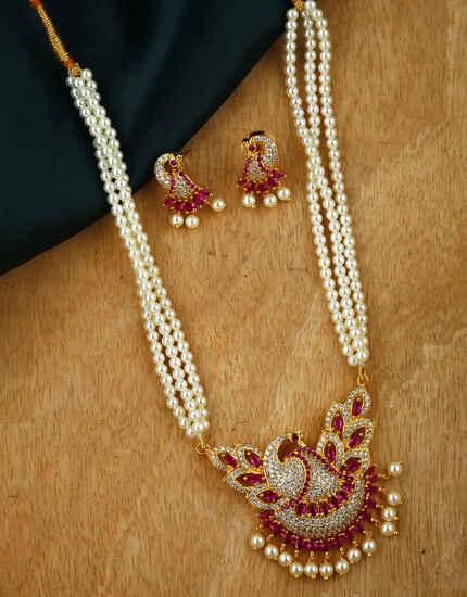 Anuradha Art Gold Tone Traditional Moti Necklace Set|Tikda Necklace Set For Women