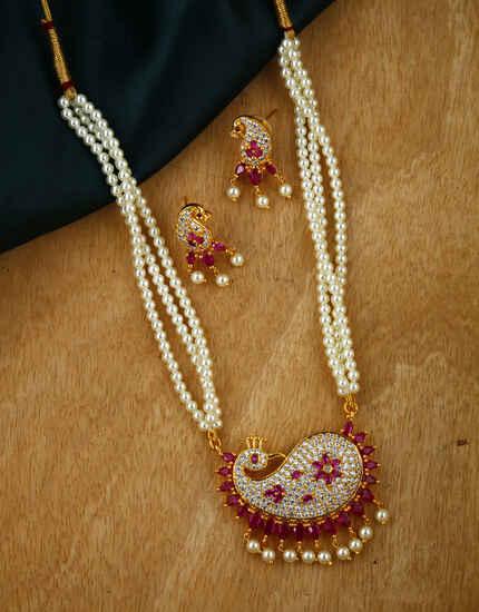 Anuradha Art Pink Colour Beads Necklace Set |Moti Necklace Set For Women