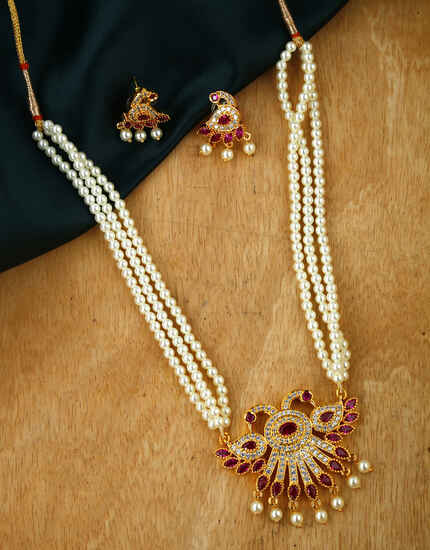 Anuradha Art Pink Colour Moti Necklace Beads Necklace Set For Women & Girls