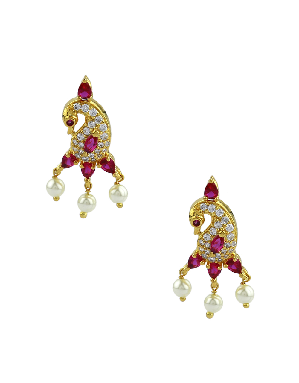 Anuradha Art Gold Finish Studded Ruby Stone Traditional Moti Necklace|Tikda Necklace For Women