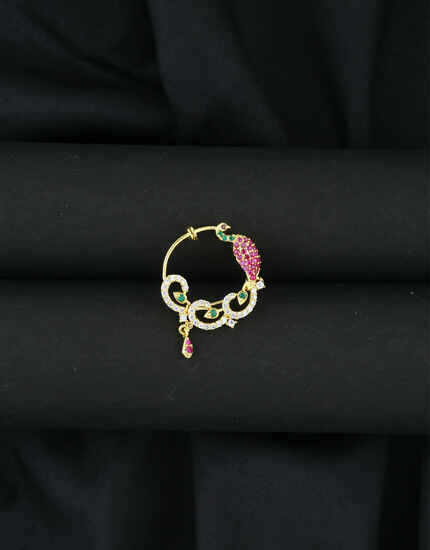 Anuradha Art Pink Colour Peacock Inspired Dulhan Nose Ring