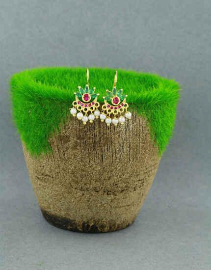 Anuradha Art Green Colour Traditional Bugadi Earrings