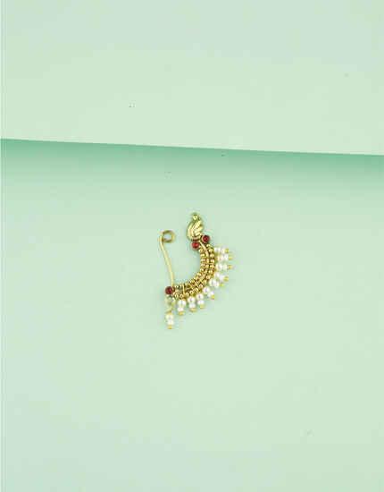 Anuradha Art Golden Finish Pearls Beads Maharashtrian Nath