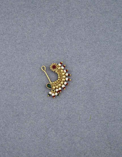 Anuradha Art Golden Maharashtrian Nath |Wedding Jewellery