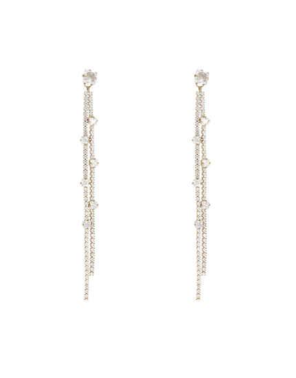 Gold Finish Studded Stone Long Earrings For Women |Party Wear Earrings For Women