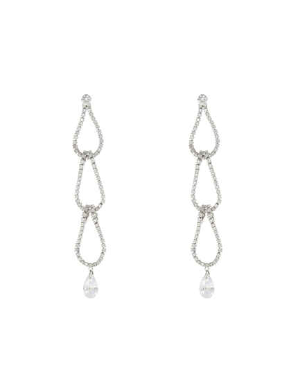 Silver Tone Studded Stone Trendy Long Earrings For Women & Girls