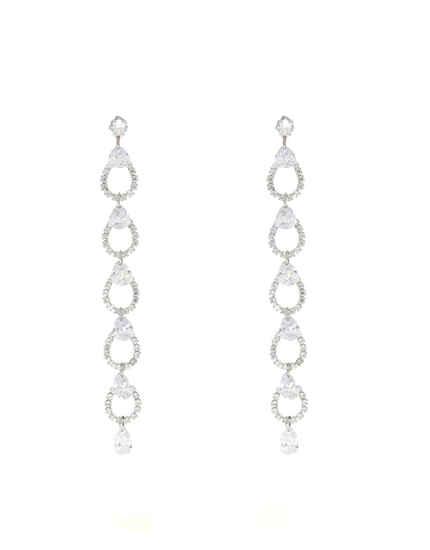 Silver Finish Korean Earrings For Women|Long Tassels Earrings