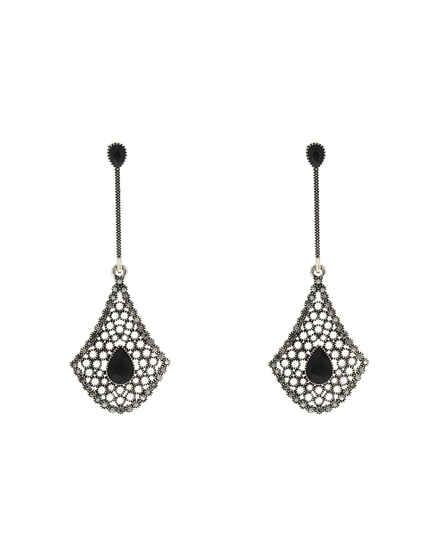 Silver Antique Finish Adorable Long Earrings|Tassels Earrings For Women