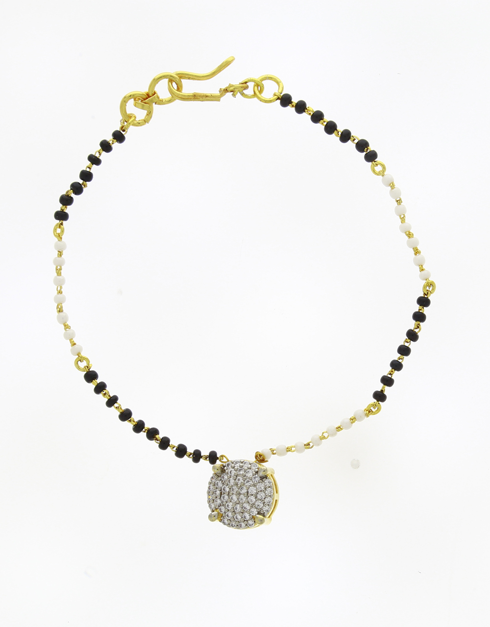 Gold Finish Trendy Hand Mangalsutra For Fancy Women