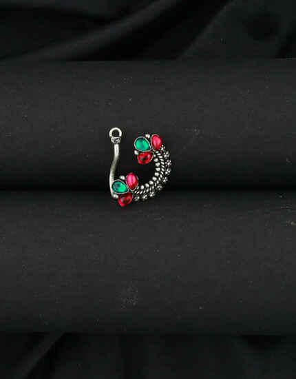 Red-Green Oxidized Nath|Pressing Nath For Wedding|Stylish Maharashtrian Nath