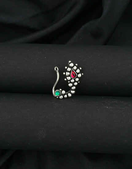 Oxidized Finish Studded Stone Traditional Maharashtrian Nath|Clip-On Nose Pin For Women (Pressing Nath)