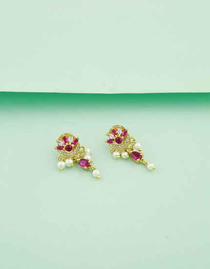 Anuradha Art Pink-Green Colour Peshwai Earrings Kolhapuri Earrings