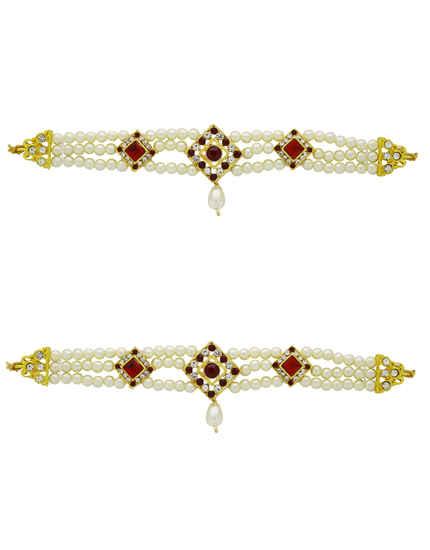 Gold Tone Designer Traditional Hand Jewellery Bajuband Armlets For Ganpati Bappa