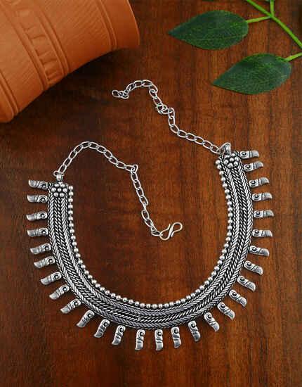 Oxidized Finish Choker Necklace Set|Traditional Navaratri Necklace For Women & Girls