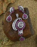 Pink Colour Diamond Pendant Set For Women|Designer Necklace Chain Pendant Set For Women